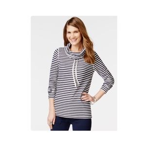 American living Navy Cowl Funnel Neck Stripe Top